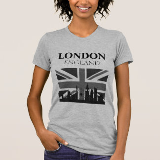 Stylish Cool Black Gray London Union Jack T-Shirt