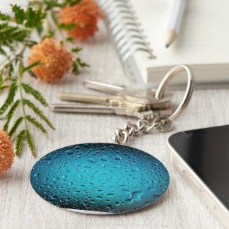 Stylish Cool Blue water drops Key Ring