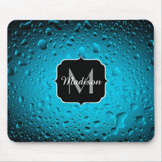 Stylish Cool Blue water drops Monogram Mouse Mat