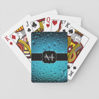 Stylish Cool Blue water drops Monogram Playing Cards