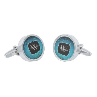 Stylish Cool Blue water drops Monogram Silver Finish Cuff Links