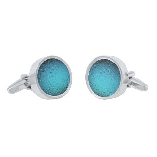 Stylish Cool Blue water drops Silver Finish Cuff Links