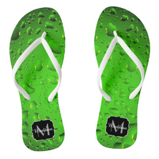 Stylish Cool Green water drops Monogram Flip Flops