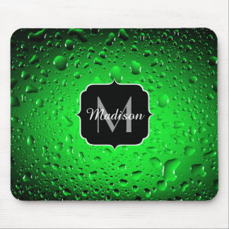 Stylish Cool Green water drops Monogram Mouse Pad
