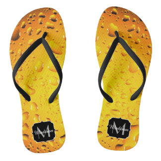 Stylish Cool Yellow water drops beer Monogram Flip Flops