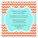 Stylish Coral & Aquamarine Wedding Invitation