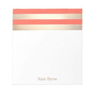 Stylish Coral Orange Faux Gold Foil Stripes Notepad
