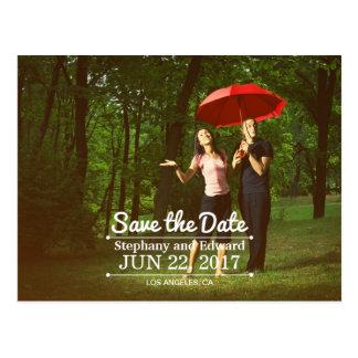 Stylish Custom Modern Save the Date Photo Postcard