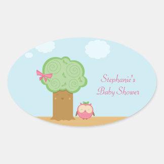 Stylish cute kawaii tree owl baby shower stickers