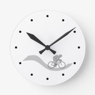 Stylish Cycling Themed Design in Gray. Round Clock