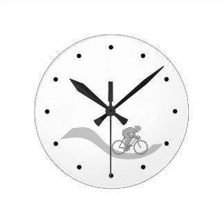 Stylish Cycling Themed Design in Grey. Wall Clocks