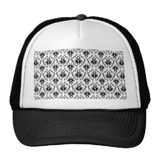Stylish Damask Design Black and White Trucker Hats