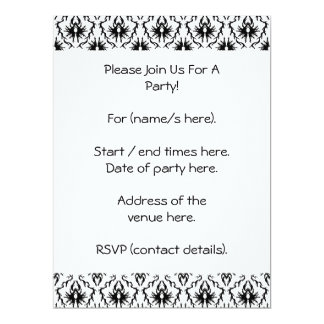 Stylish Damask Design, Black and White. 17 Cm X 22 Cm Invitation Card