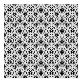 Stylish Damask Design, Black and White. Print