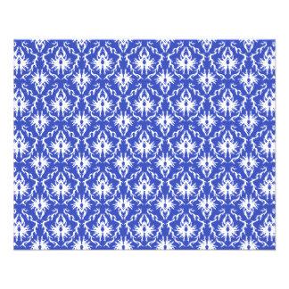 Stylish damask pattern. Blue and white. Custom Flyer