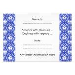 Stylish damask pattern. Blue and white. Custom Invitation