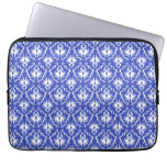 Stylish damask pattern. Blue and white. Laptop Computer Sleeve