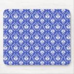Stylish damask pattern. Blue and white. Mouse Pads