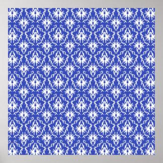 Stylish damask pattern. Blue and white. Print