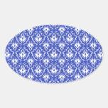 Stylish damask pattern. Blue and white. Stickers