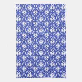 Stylish damask pattern. Blue and white. Tea Towel