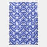 Stylish damask pattern. Blue and white. Towels