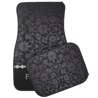 Stylish Damask Print in Black & Gray | Personalize Car Mat