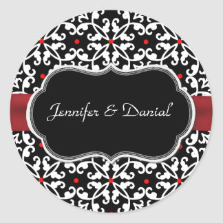 Stylish Damask Wedding Envelope Seal Round Sticker