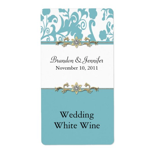 Stylish Damask Wedding Wine Labels