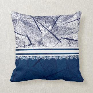Stylish Dark Blue Vein Leaf Design Throw Pillow