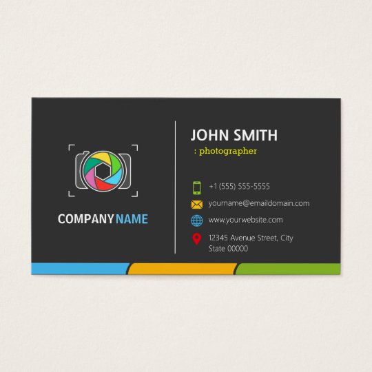 Stylish Dark Colourful Camera Symbol Business Card