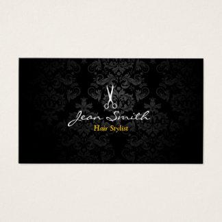 Stylish Dark Damask Hair Stylist Business Card