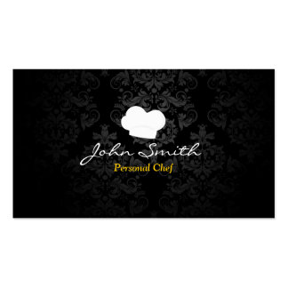 Stylish Dark Damask Personal Chef Business Card
