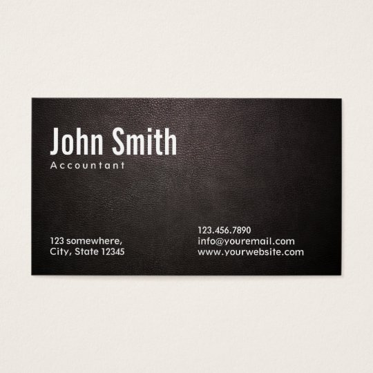 Stylish Dark Leather Accountant Business Card