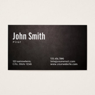 Stylish Dark Leather Pilot/Aviator Business Card