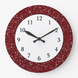 Stylish Dark Red Glitter Large Clock