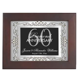Stylish Decorative Silver 60th Wedding Anniversary Keepsake Box