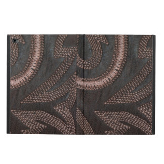 Stylish Decoratively Sewn Brown Vintage Leather