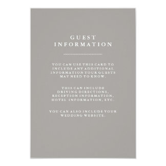 Stylish Deep Gray Wedding Guest Information Card