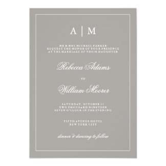 Stylish Deep Gray Wedding Invitation
