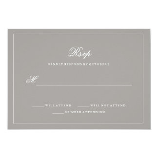 Stylish Deep Gray Wedding RSVP 9 Cm X 13 Cm Invitation Card