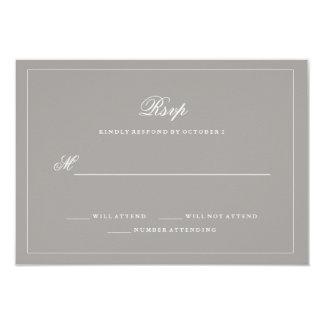 Stylish Deep Gray Wedding RSVP 9 Cm X 13 Cm Invitation Card
