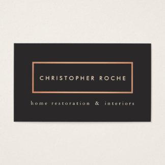 Stylish Designer Copper Frame Warm Black Business Card