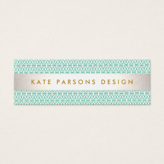 Stylish Designer Modern Mint and White Pattern Mini Business Card