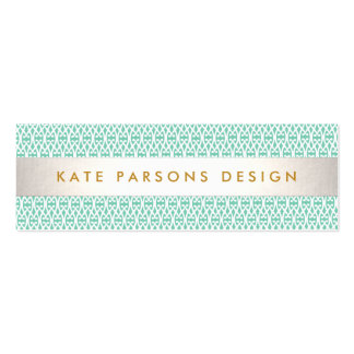 Stylish Designer Modern Mint and White Pattern Pack Of Skinny Business Cards