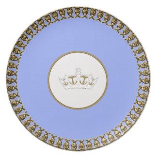 """Stylish Designs_Paris-Winter Blue_Gold_Crown Plate"