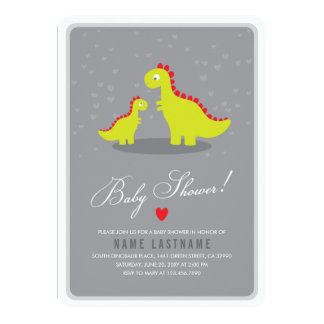 Stylish Dinosaur Grey Baby Shower Invite Rounded