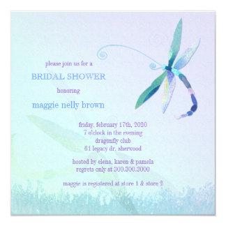 Stylish Dragonfly Blue Purple Bridal Shower Card