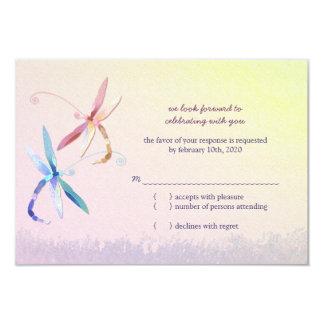 Stylish Dragonfly Wedding RSVP Card