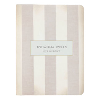 Stylish Elegant Beige Linen and Gold Striped Extra Large Moleskine Notebook